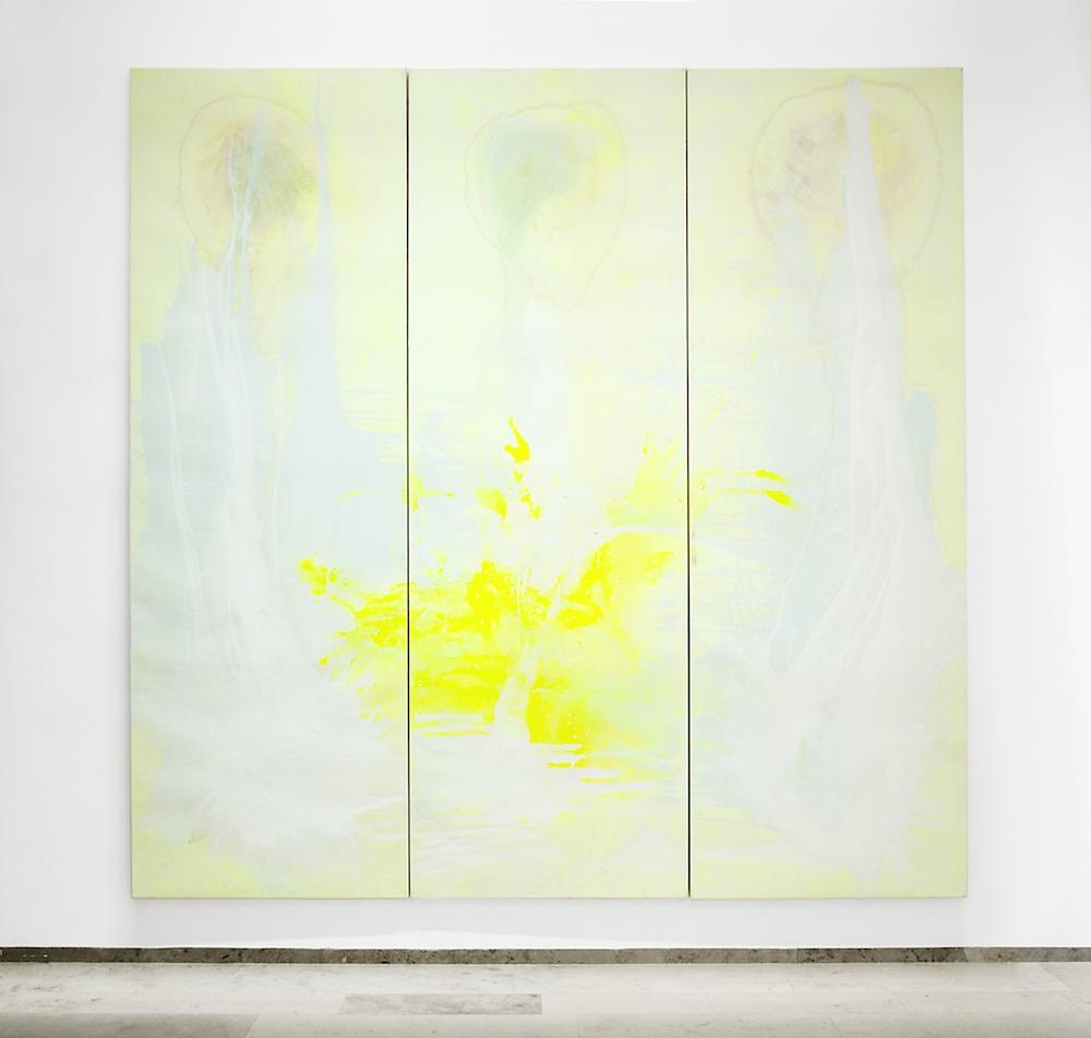 Bernd Zimmer, Trinität, Acryl und Lack auf Leinwand, 360 x 360 cm, dreiteilig, 2009