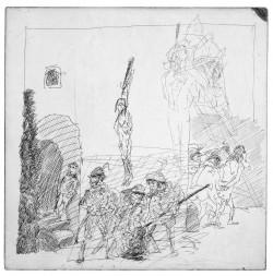 Alfred Hrdlicka, Renaissance der Propheten, Radierung, 33,2 x 33,2 cm, 1984