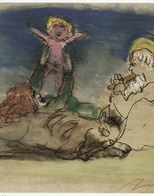 Alfred Hrdlicka, Ruhe auf der Flucht, Kreide, Bister, Rötel, Pastell, 49 x 66 cm, 1990