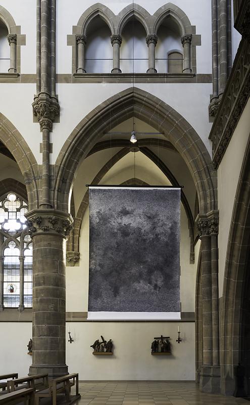 Ulf Aminde, ich, 2003, Stempel auf Papier, 360 x 520 cm, Installation in St. Paul, Foto: Richard Beer