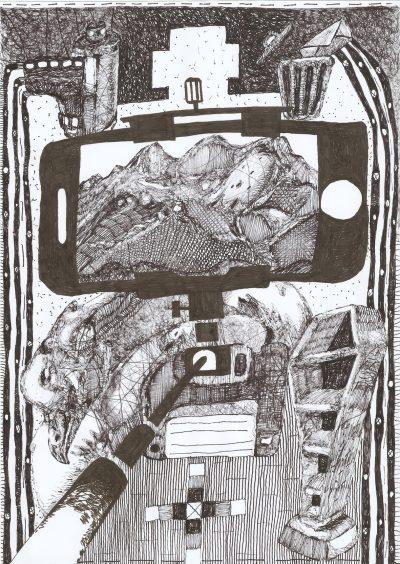 Christoph und Sebastian Mügge Depot oder Deponie 1, 2021 Fineliner auf Papier 29,7 x 21 cm VG Bild-Kunst, Bonn 2021 (für Christoph Mügge)